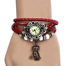Vintage Quartz Weave Wrap Synthetic Leather Bracelet Women's Wrist Watch(Red)