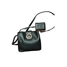 2 In 1 Ladies Leather Handbag - Black
