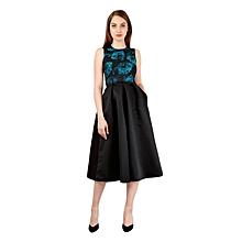 Teal & Black Sleeveless Midi Skater Dress