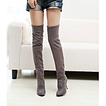 Point Toe High-Heeled Women Boots Autumn Winter Fitted Women Single Shoes- Gray 35