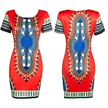 Fohting Traditional African Print Dashiki Bodycon Sexy Short Sleeve Dress Red/XXXL -Red
