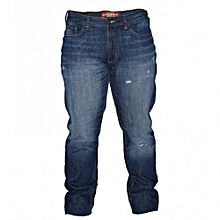 Dark Blue Distressed Men's Pants