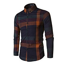 Grace Men's Leisure Shirts Long Sleeved Shirts Turn-down Collar Big Lattice Printing Sanding.Peach.Emerizing Personality Shirts