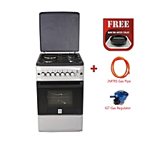 Standing Cooker, 3 Gas Burners, 1 RAPID Hot Plate and Electric Oven MST55PI31SL/HC, 50 X 55 - With Free Tray Oven, Gas Pipe- Silver and Black