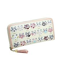 Technologg Wallet  Women Printing Tassel Zipper Clutch Wallet Long Card Holder Purse Handbag BG-Beige