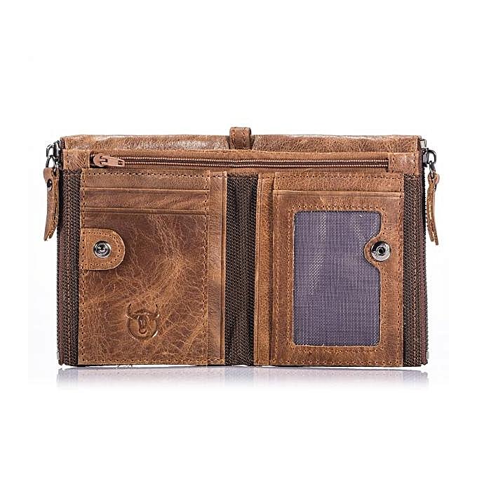 Buy Generic Bullcaptain Vintage Genuine Leather Card Holder 2 Zipper Pockets Coin Bag Fashion Wallet For Men @ Best Price Online - Jumia Kenya