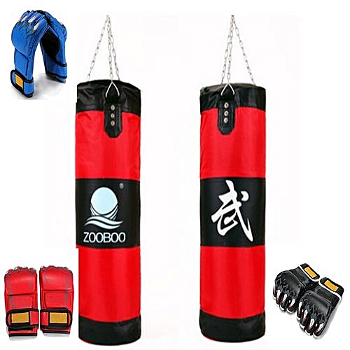 271920920569 Punch Bag Filled Cowhide Leather Kick Boxing Training Gloves Pad Bags