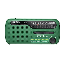 DEGEN DE13 FM Radio FM MW SW World Bank Receiver Flashlight Cranker Dynamic Solar Power Supply Solar Emergency Radio w/ Cell Phone MP3 MP4 Charger for Outdoor Activities