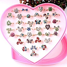 Children Kids Girls Fancy Adjustable Cartoon Rings Party Favors Gifts Color Pattern At Random
