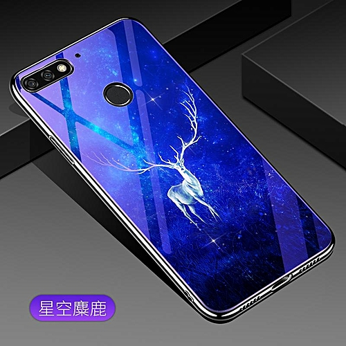 timeless design 9be43 0c64d For Huawei Honor 7X Lovely Cartoon Wolf Flower Blue Light Back Cover For  Huawei Honor 7X Anti-Explosion Tempered Glass Case Fundas 5.93inch 115217  ...