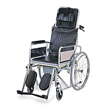 Foldable Commode Reclining Wheelchair - Black