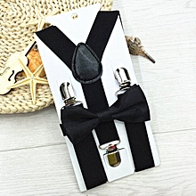 Adjustable Suspender and Bow Tie Matching Set for Boys Girls Child Kids