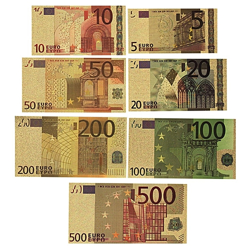 7PCS Gold Foil Euro Souvenir Currencies World Paper Money Currency  Collections colorful