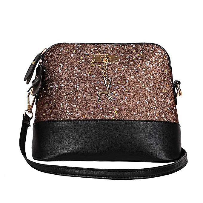 ef6854d4d1d Hot Sale New Fashion Women Leather Deer Splice Shell Shape Bag Mini  Shoulder Crossbody Bags Tote designer handbags high quality(D)