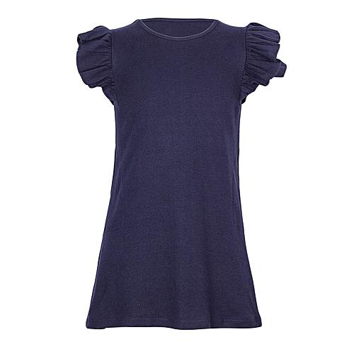 941e4b2b3 Narlki Girls Navy Blue Frilled Sleeves Cotton Dress Top   Best Price ...