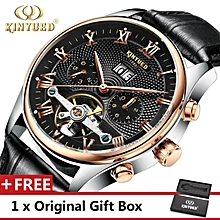 KINYUED Top Brand Mechanical Watch Luxury Men Business Watchs Genuine Leather Band 3ATM Waterproof Calendar Function Mens Famous Male Watches Clock For Men Wrist Watch WWD