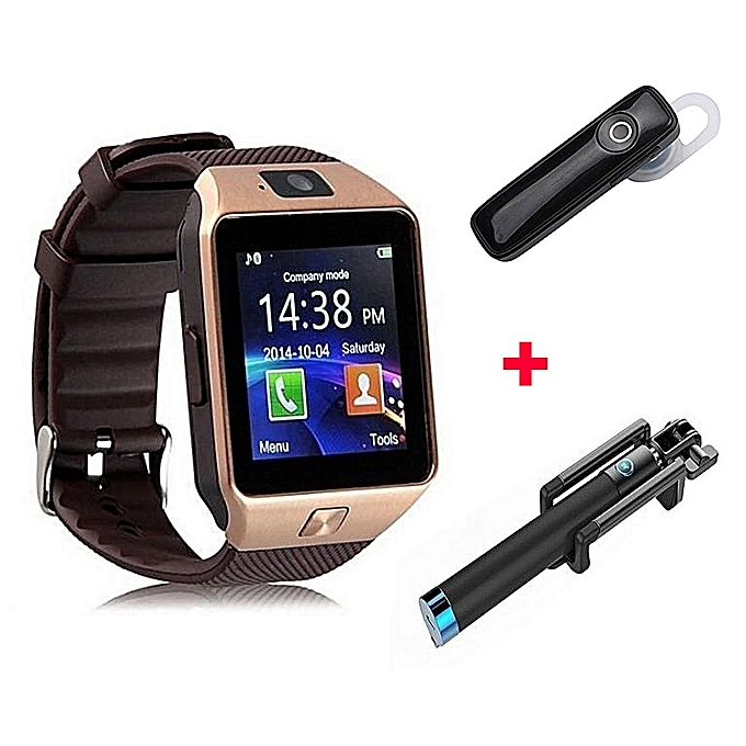 65988ac1842 DZ09 Smart Watch Phone With Free Bluetooth headset and selfie stick - Gold  Bronze