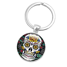 Skeleton Skull Time Gemstone Keychain Glass Pendant Key Chain