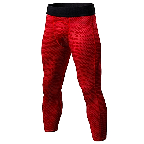 ff28cd5bb247c Generic Men 3/4 Compression Pants Fitness Gym Tights Quick Dry Jogging Running  Pants Stretch Sports Training Trousers Cycling Athletic Leggings - red