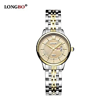 80079 Leisure Women Watch Roman Numral Dial Date Calendar Female Watches Stainless Steel Strap Wristwatch for Lady - Yellow