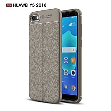 Huawei Y5(2018) Silicone Case, Litchi Pattern TPU Anti-knock Phone Back Cover For Huawei Y5(2018) - Gray.
