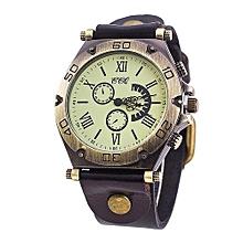 Olivaren CCQ Brand Leather Vintage Watch Men Women Wristwatch Quartz Black