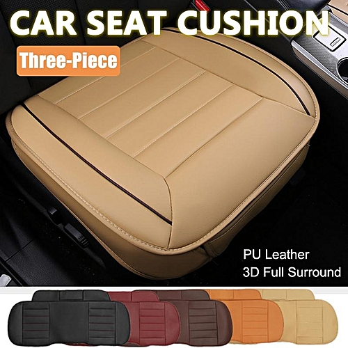 3piece Car Seat Cushion PU Leather 3D Full Surrounded Protector Universal Beige