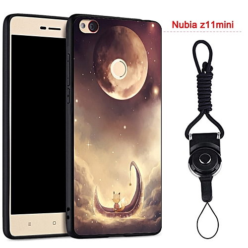 best service 13fa3 a3477 Silicon Soft Rubber Phone Case for ZTE Nubia Z11 Mini with Ring and String