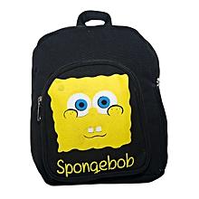 Black Canvas Designer School Bag Decorated With Yellow Spongebob