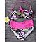 Sexy Halter Backless Flower Love Striped Printed Wireless High Waist  Bikini Sets