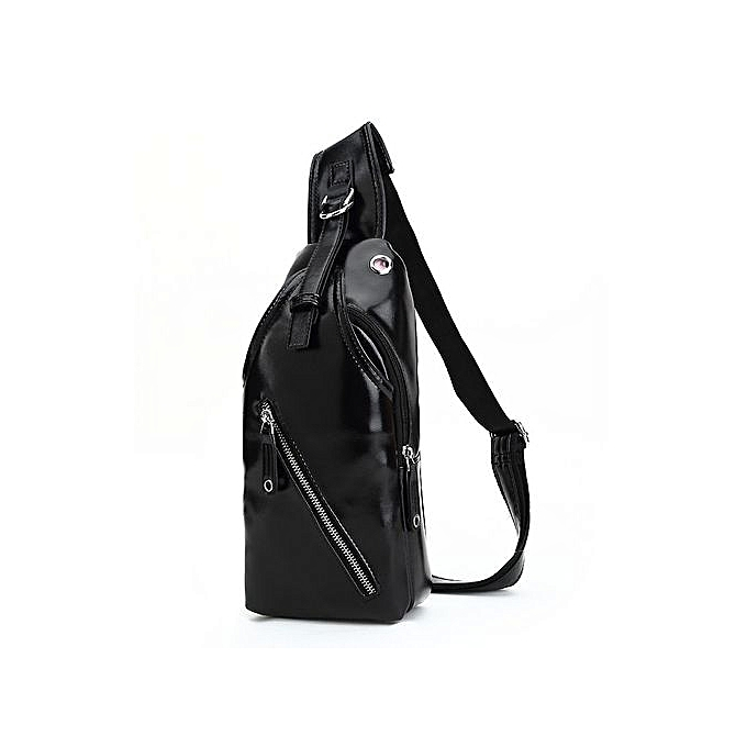 2331f6c555 Men Crossbody Bag Fashion Leather Mens Shoulder Bag Coffee Chest Pack Men  Bags(Black)