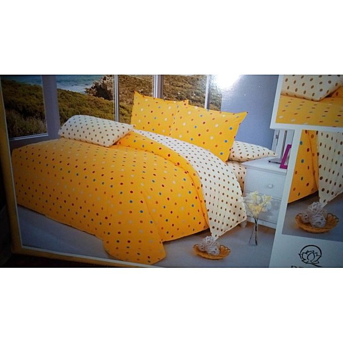 generic 6pc cotton duvet cover set 6x6 yellow cream polka dot best price jumia kenya. Black Bedroom Furniture Sets. Home Design Ideas