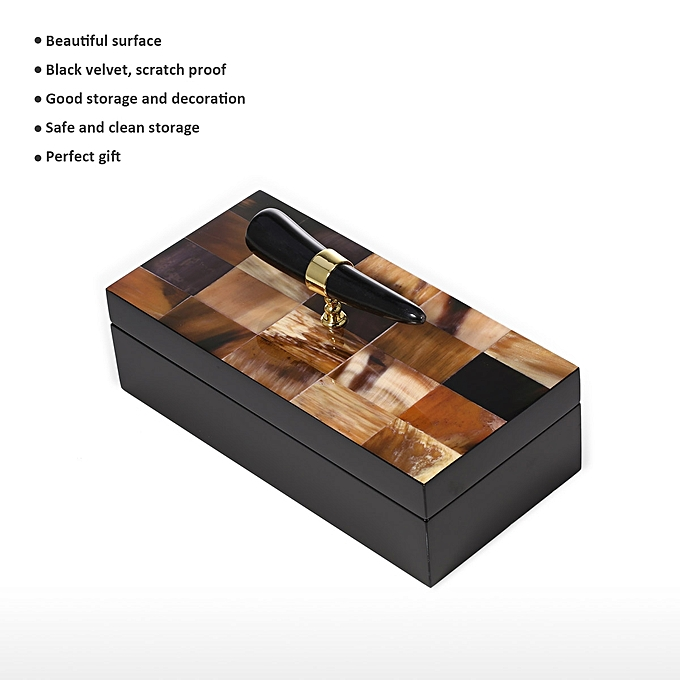 Buy Generic Rectangular Jewelry Box With Horn Stripes Wooden Jewelry