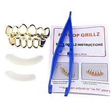 Gold Silver Plated Custom Fit Hip Hop Teeth Grillz Top Bottom Grills Teeth Mouth Gold