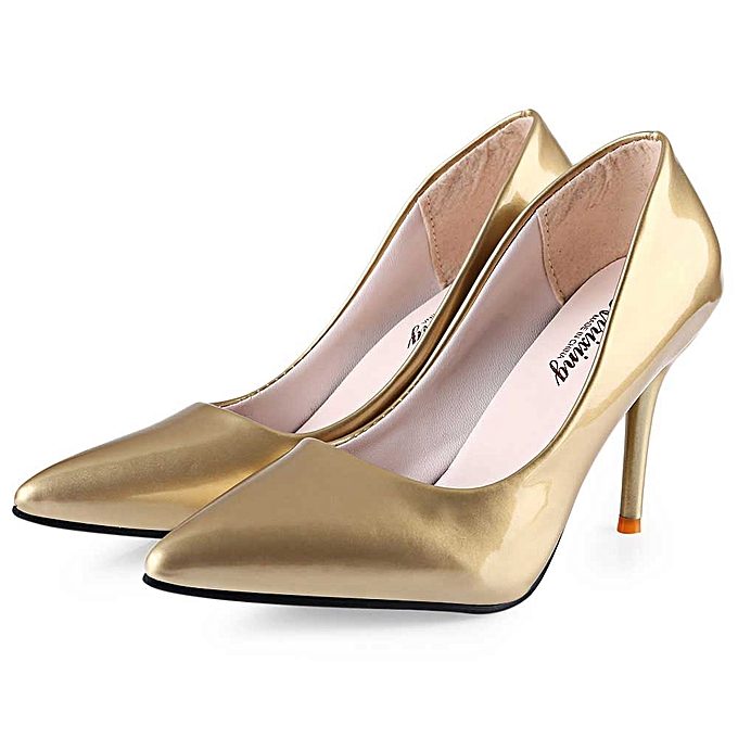 fcb880d2a5e Fashion Stylish Pointed Toe Ladies Thin High Heel Shoes - GOLDEN ...