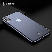 Baseus Slim Transparent Soft TPU Silicone Back Cover Case For IPhone X 10 (Blue) FCJMALL