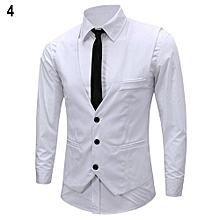 Men's Classic Formal Business Slim Fit Chain Dress Vest Suit Tuxedo Waistcoat-White