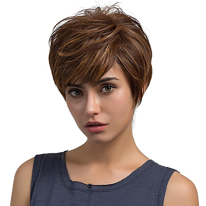 Zlime Natural Light Brown Straight Short Hair Wigs Short
