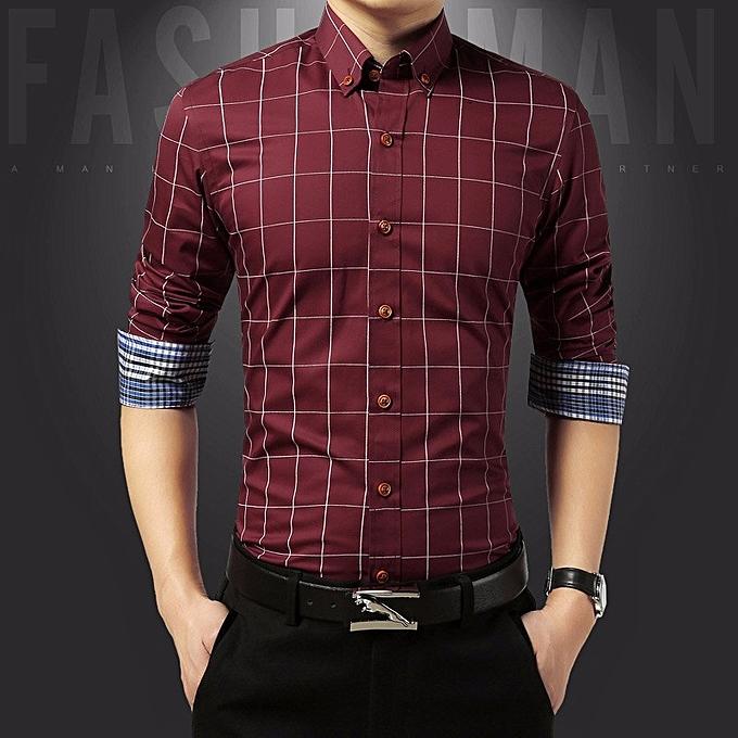 Tauntte Cotton Slim Fit Check Shirts Men Plaid Business Formal