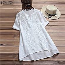 ZANZEA Women Casual Pullover Loose Tunic Blouse Tee T Shirt White Basic Boho Floral Top