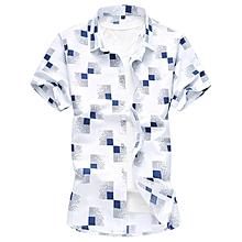 Print Turn-down Short Sleeve Shirts For Men (White)