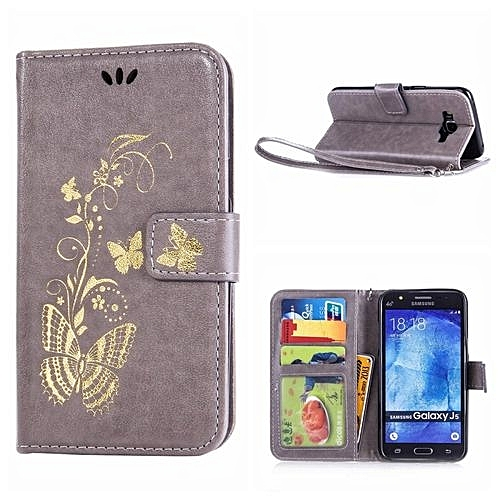 sports shoes ef4e3 a576a Leather Case For Samsung Galaxy J5 Bronzing Butterfly Flip Wallet Stand  Cover With Photo Frame Gold (Color:c0)