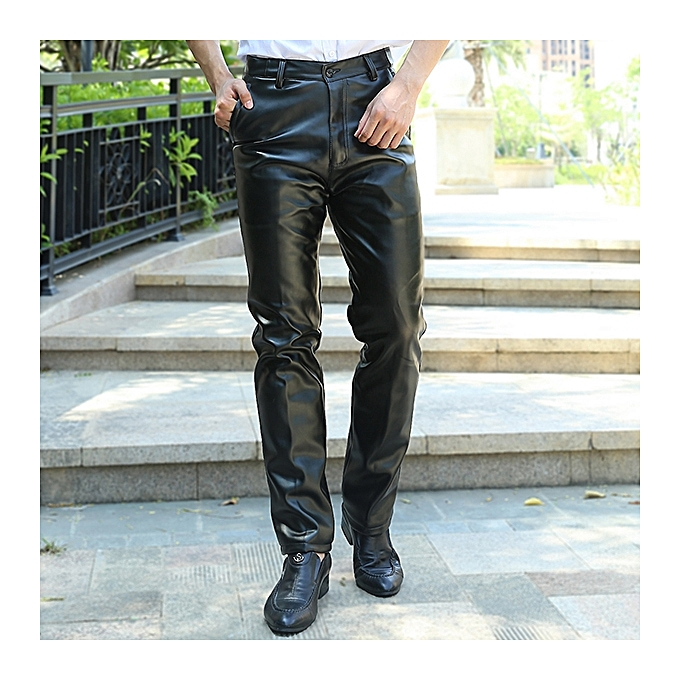aa248005 Men's PU Leather Pants Winter Spring Leisure Warm Fleece Srtaight Pants
