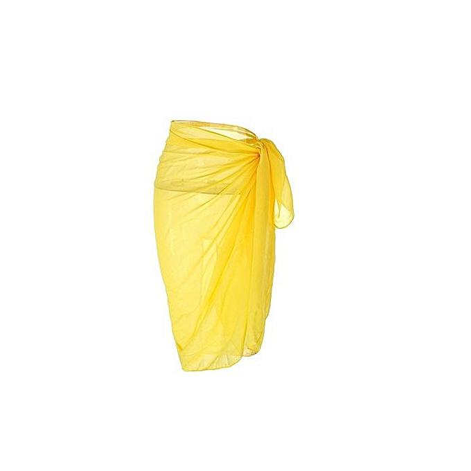 cfcb806a71ad1 Hiaojbk Store Women Chiffon Swimwear Pareo Scarf Beach Cover Up Wrap Kaftan  Sarong-Yellow
