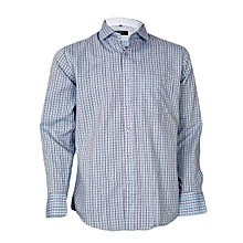Blue Checked Long Sleeved Formal Shirt