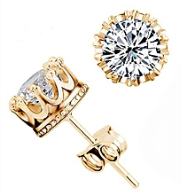 Fashion Crown 18k Gold Plated Earrings Women Men Sterling Silver Crystal Jewerly Double Stud Earing,,,,,,,,