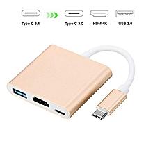 USB C to HDMI 4K Multiport Adapter,  HDMI Adapter Converter 4K+USB 3.0+USB-C Charging Port for New Macbook/Dell XPS13/Chromebook Pixel/Yoga 900/HDTV/Projector