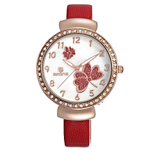 Red Women's Leather Strap Watch With a White Dial