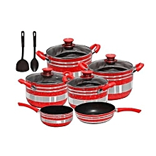 Non Stick Cooking Pots - 12 Pieces - Red