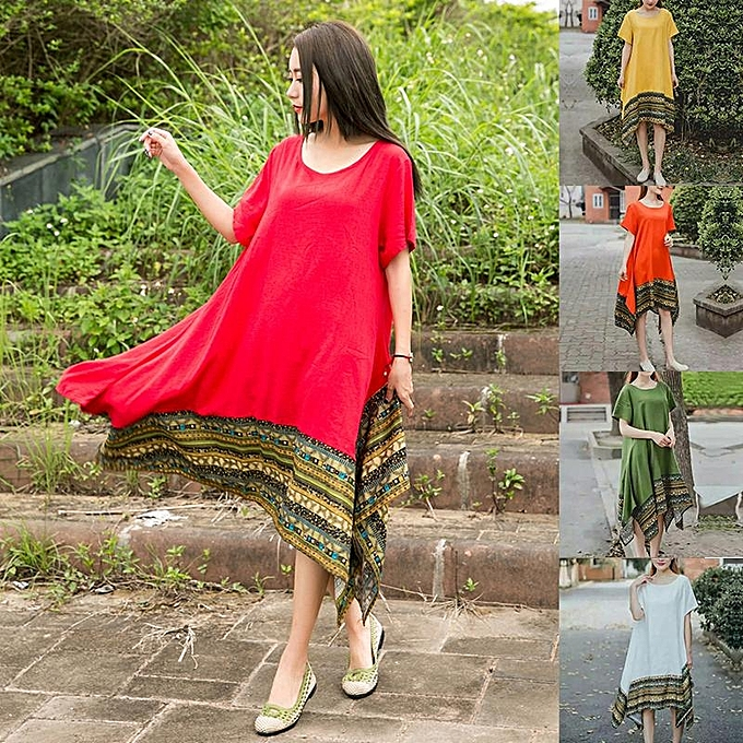 ... ZANZEA Vintage Cotton Women Patchwork Loose Short Sleeve Dress Summer  Ladies Asymmetrical Crew Neck Dresses Robe df88b4595